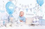 Mooideco - Feest decoratie box 1e verjaardag blauw-zilver