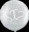 Mooideco - Zilver verstrengelde harten megaballon