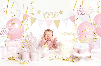 Feest decoratie box 1e verjaardag roze-goud
