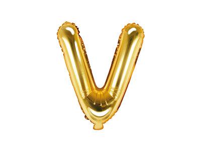 Letter V Ballon 35cm Goud