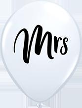 28 cm ballonnen Qualatex Mrs white