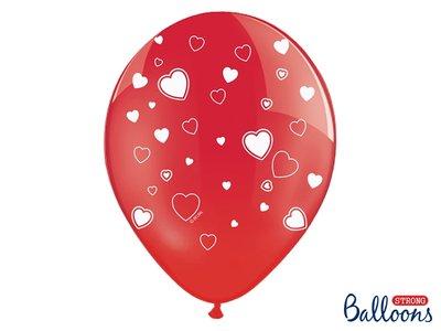 30 cm ballonnen Strong Balloons Rood met witte hartjes