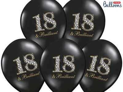 30 cm ballonnen Strong Balloons zwarte ballonnen bedrukt met 18 & Brilliant