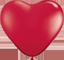 28 cm hartballon Qualatex Crystal ruby Red (transparant)