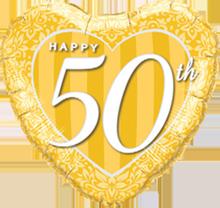 45 cm Folieballon Qualatex Happy 50th Gold