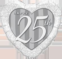 45 cm Folieballon Qualatex Happy 25th Silver
