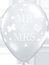 28 cm ballon Qualatex Mr en Mrs Crystal diamond clear