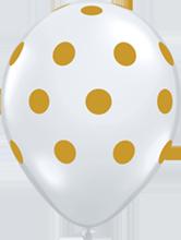 28 cm ballon Qualatex Gold Polka Dots Crystal diamond clear