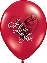 28 cm ballon Qualatex 'I Love You' Crystal Ruby Red (transparant)