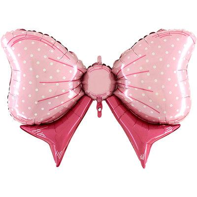 109 cm folieballon roze strik