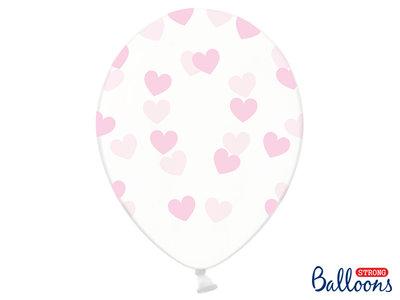 30 cm ballonnen Strong Balloons Roze hartjes