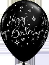 28 cm ballon Qualatex Happy birthday sparkles and swirles fashion onyx black