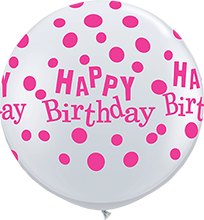 90 cm ballon Qualatex roze happy birthday dots crystal diamond clear