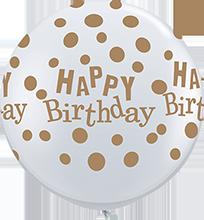 90 cm ballon Qualatex goude happy birthday dots crystal diamond clear