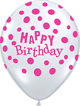 40 cm ballon Qualatex roze happy birthday dots crystal diamond clear