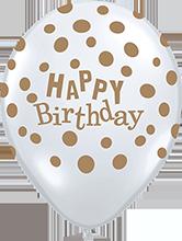 40 cm ballon Qualatex goude happy birthday dots crystal diamond clear