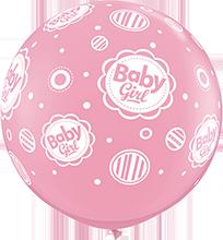 90 cm ballon Qualatex baby girl dots pink