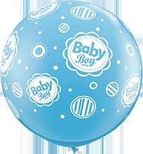 90 cm ballon Qualatex baby boy dots blue
