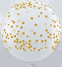 90 cm ballon Qualatex confetti dots goud