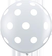 90 cm ballon Qualatex big white polkadots crystal diamond clear