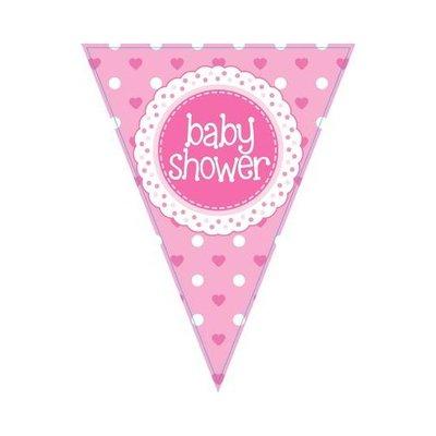Vlaglijn baby shower pink