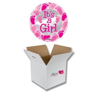 Mooideco - Ballonnenpost geboorte It's a girl roze