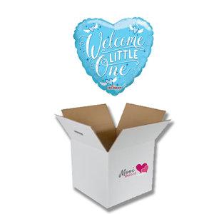 Mooideco - Ballonnenpost geboorte welcome little one blauw
