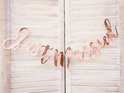 Mooideco - Banner just married rose goud